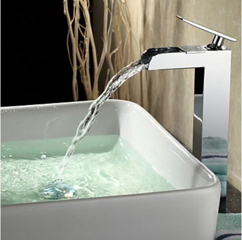 Contemporaine cascade finition chrom e robinet d 39 vier salle de bains ha - Robinet vasque salle de bain ...