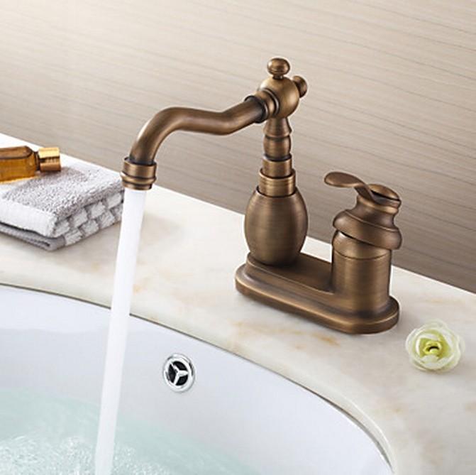 Laiton antique 4 pouces de salle de bain lavabo robinet for Robinet salle de bain lavabo