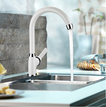 Contemporaine Centerset Blanc Peinture Kitchen Sink Tap T0553